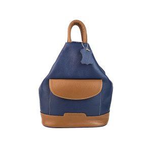 mochila de piel antirrobo bolsillo azul y cuero