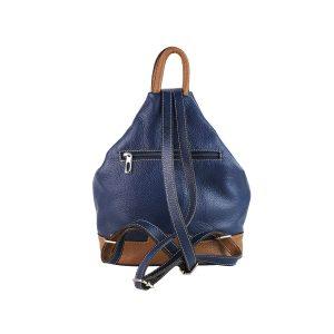 mochila de piel antirrobo bolsillo azul y cuero 2