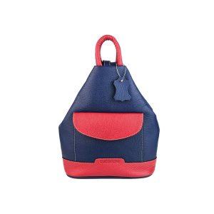 mochila de piel antirrobo bolsillo azul y rojo