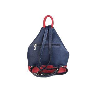 mochila de piel antirrobo bolsillo azul y rojo 2