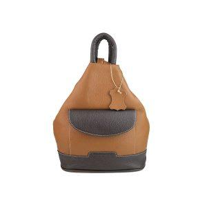 mochila de piel antirrobo bolsillo cuero y marron oscuro