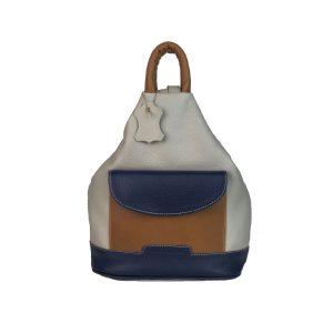 Mochila de piel antirrobo bolsillo gris claro, azul marino y cuero