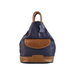 mochila de piel antirrobo bolsillo morada y cuero