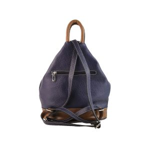 mochila de piel antirrobo bolsillo morada y cuero 2