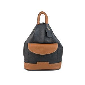 mochila de piel antirrobo bolsillo negra y cuero, hecha en España