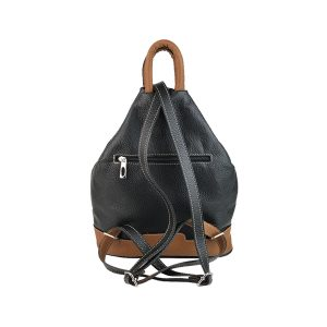 mochila de piel antirrobo bolsillo negra y cuero 1