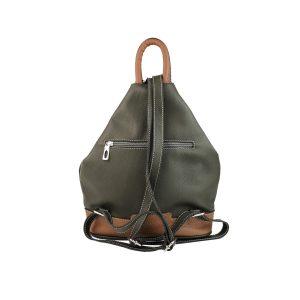 mochila de piel antirrobo bolsillo verde caqui y cuero 2