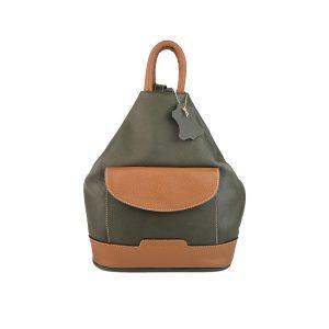 mochila de piel antirrobo bolsillo verde caqui y cuero
