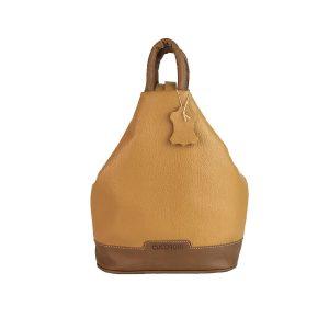 mochila de piel antirrobo camel y cuero