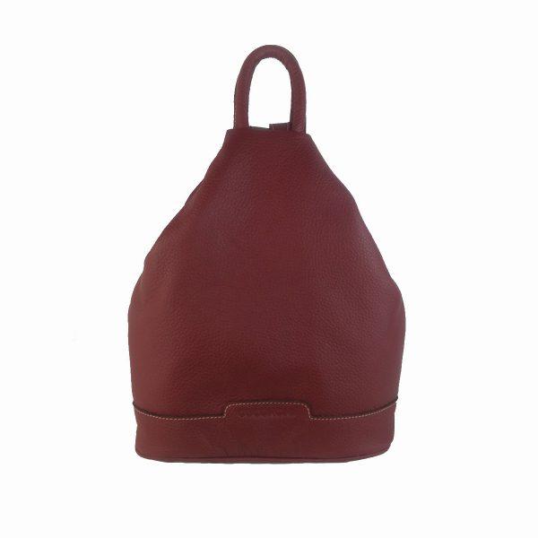mochila de piel antirrobo granate