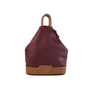 mochila de piel antirrobo granate y cuero