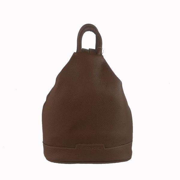 mochila de piel antirrobo marron denver