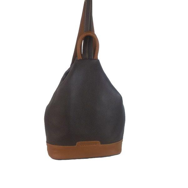 mochila de piel antirrobo marron oscuro y cuero
