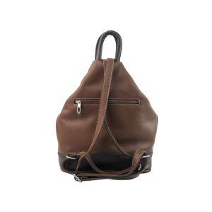 mochila de piel antirrobo marrón y marrón oscuro 1
