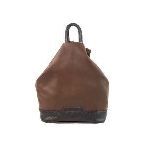 mochila de piel antirrobo marrón y marrón oscuro