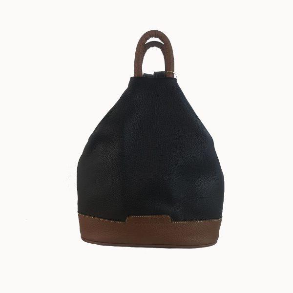 mochila de piel antirrobo negra-marron