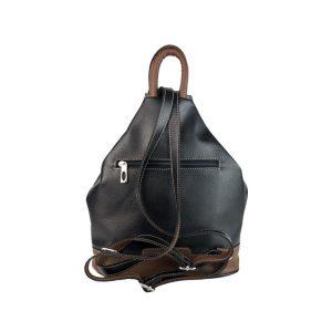 mochila de piel antirrobo negro y marrón 1