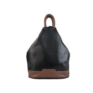 mochila de piel antirrobo negro y marrón