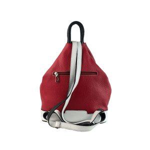 mochila de piel antirrobo roja, blanca y azul marino 1