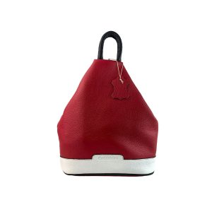 mochila de piel antirrobo roja, blanca y azul marino