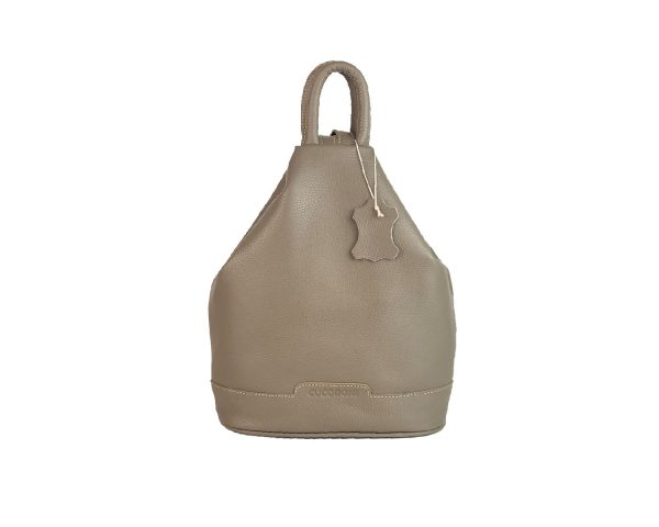 mochila de piel antirrobo taupe