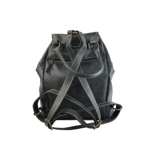 mochila de piel negra vintage 1