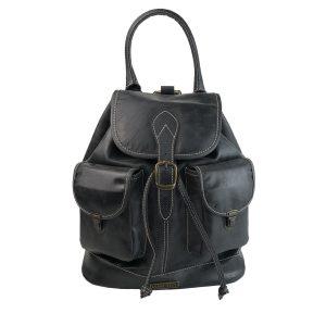 mochila de piel negra vintage