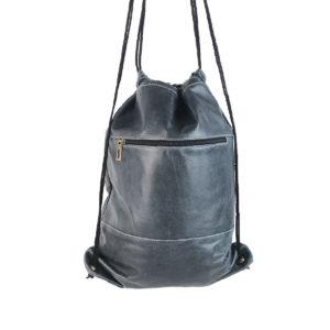mochila saco de piel vintage azul