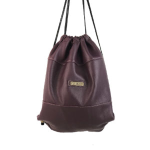 mochila saco de piel vintage burdeos