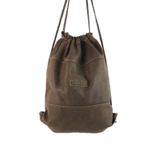 mochila saco de piel vintage cuero