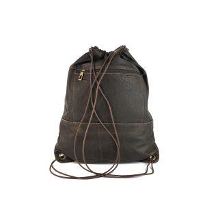 mochila saco de piel vintage marrón 1