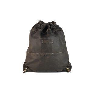 mochila saco de piel vintage marrón