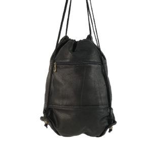mochila saco de piel vintage negra