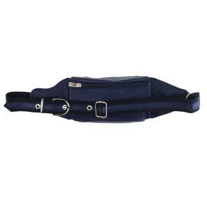 riñonera de piel azul marino Basic 1