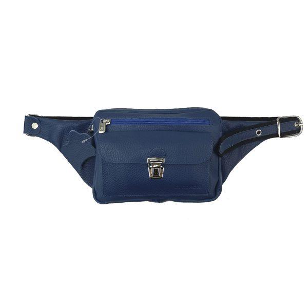 riñonera de piel bolsillo azulón