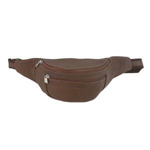 riñonera de piel marrón Basic