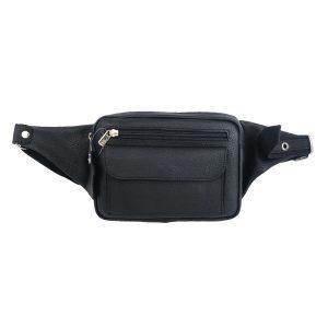 riñonera de piel negra bolsillo, hecha en España