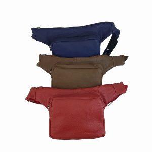 riñonera de piel roja, marron y azul mod.lateral