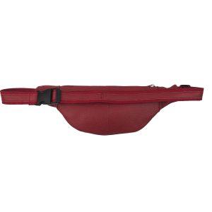 riñonera de piel roja plana 1
