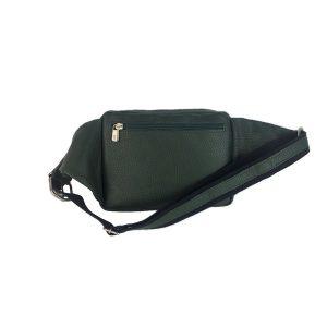 riñonera de piel verde bolsillo tupí 1