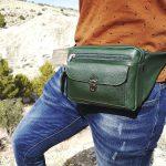 riñonera de piel mod.bolsillo color verde mod5
